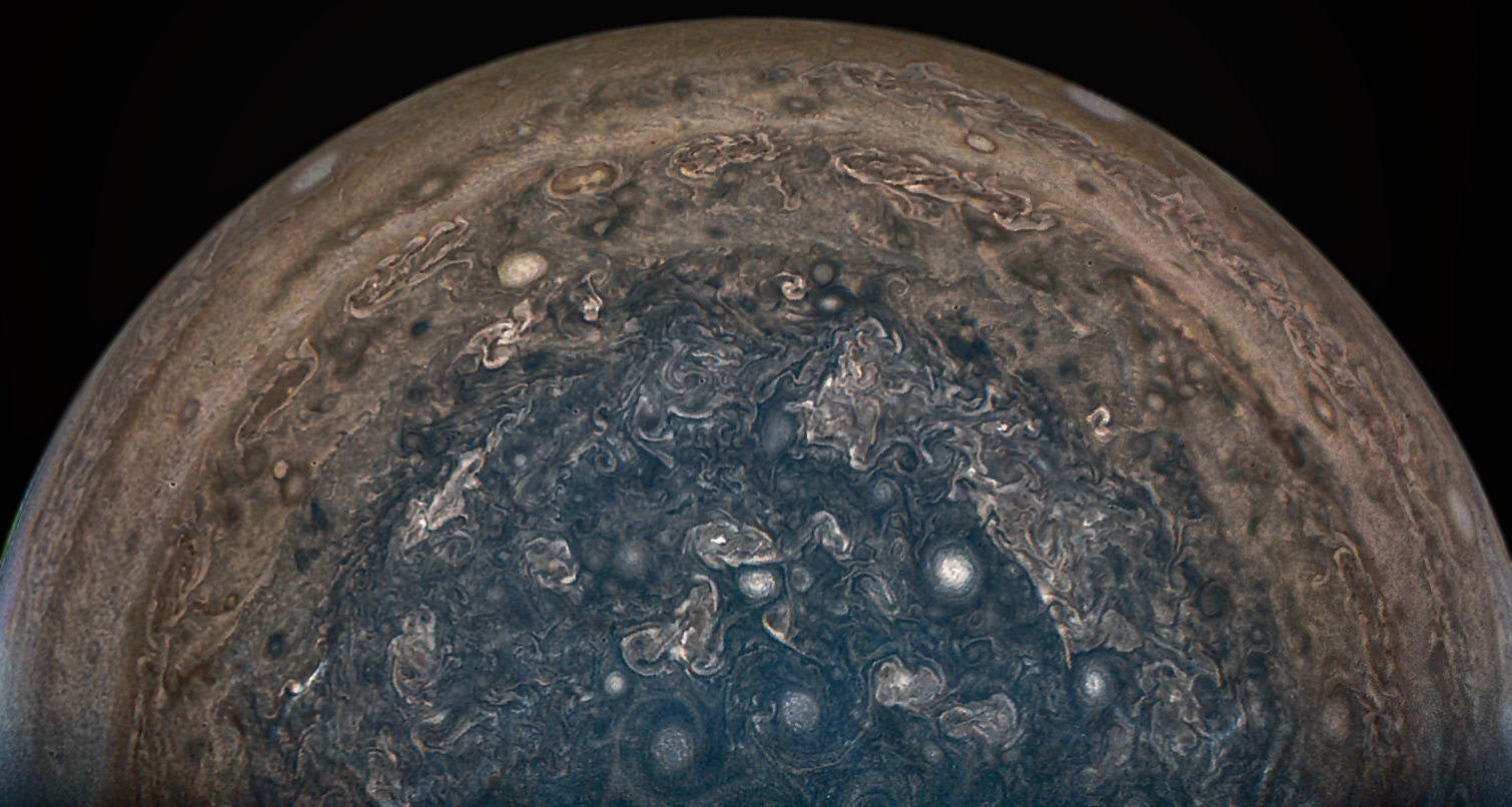 New images of polar storms on Jupiter from NASA's Juno